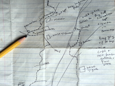 Hand drawn map for Crista Cloutier