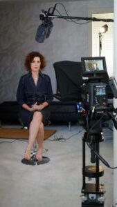 Portrait of Crista Cloutier filming videos