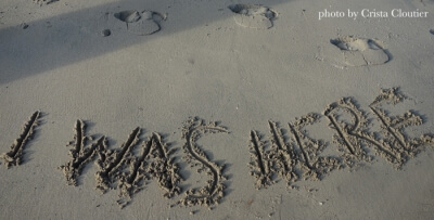 i was here written in the sand