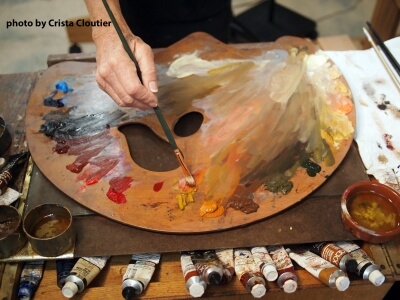 Photo of an artist's paint palette