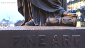 Photo of a sculpture that says fine art