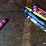 Crayons on wood