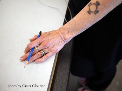 Photo of an artist's hand