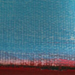 Bllue and red canvas with brush